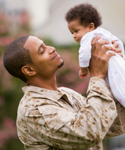 Image of Army father with dehydrated baby